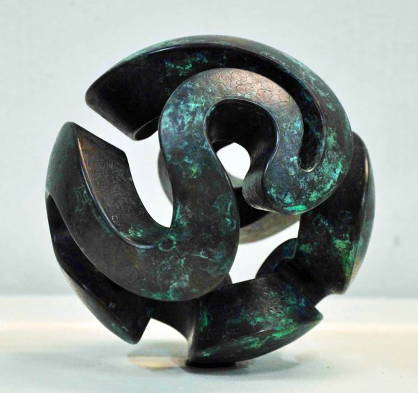 Bronze Small / Little Abstract Contemporary Sculptures / statue by artist Jens Ingvard Hansen titled: 'Desiccate Sphere (Round Circular Spherical Contemporary abstract statue)'