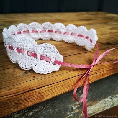 This dainty headband is easy to work up, and perfect for those who are just starting to experiment with crochet thread.