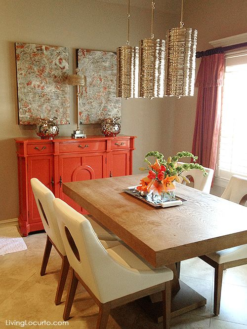 This Neutral Colored Dining Space Gets A Big Pick Me Up From An Accent Piece    This Wonderful Orange Buffet Server.