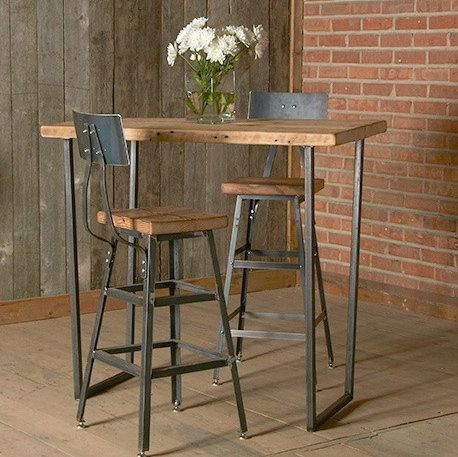 Counter height Bar stool / chair pairs perfectly with a reclaimed wood table or desk from Urban Wood Goods. We can make your desk or table in bar and counter height as well. Let us transform your office, kitchen or space with these amazing steel and wood stools. Our reclaimed wood top and steel base stool is a modeled after an industrial shop stool. Made in Chicago. We make these in three different heights and with backs.   The reclaimed wood top of each stool is handcrafted from the flo...