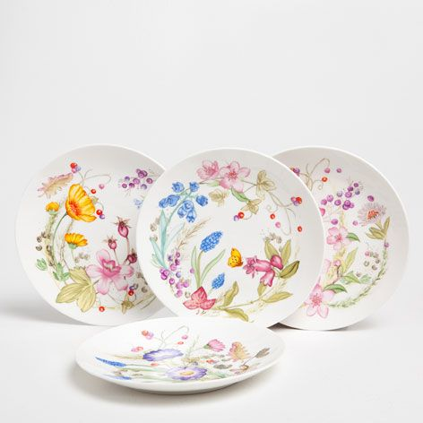 Wildflower Dessert Plate (Set of 4) - Dinnerware - Tableware | Zara Home United States