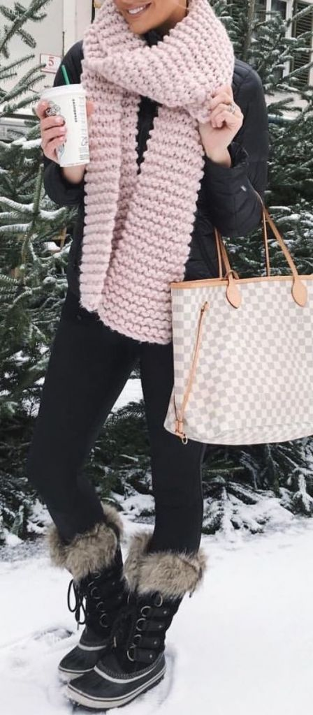 #Winter #Outfits / Pastel Pink Scarf + All Black Outfit