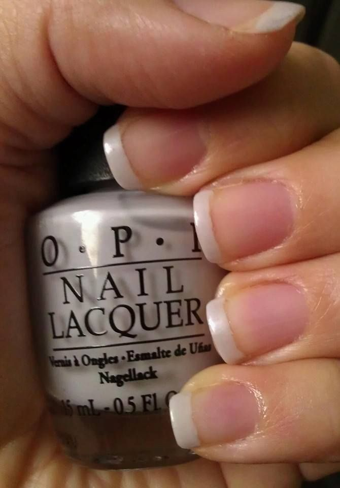 French Manicure with OPI Samoa Sand and Gelous Advanced Nail Coat. (No link, picture only.)