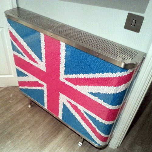 YOYO Union Jack Mosaic in bespoke pink colourway for a  kitchen  in Manchester (From Modern Radiator Covers and Window Shutters)