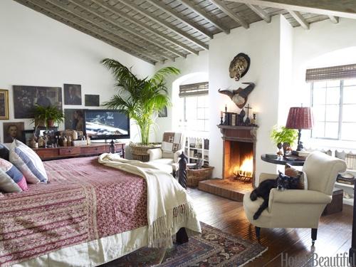 A warm bedroom. Design: Dan Marty. housebeautiful.com #bedroom #fireplace #sari #antique: Rustic Rooms, Home Interiors, Rooms Decor Ideas, Interiors Design, Bedrooms Fireplaces, Cozy Rooms, Design Home, Cozy Bedrooms, Bedrooms Ideas