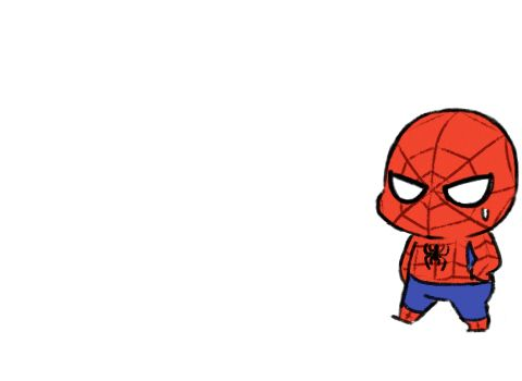 Chibi Deadpool following Spiderman (Spidey)I now 5ever love the person who made this