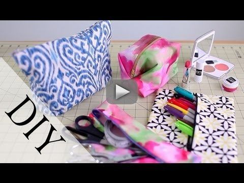 DIY Pencil Case  Makeup Bag {Back To School How to} No Sew  Sew - Time for a popular request! A back to school Pencil Case / Makeup bag! In this DIY video, I show you how to make a cute and easy case to store all your | http://makeupguidevideo.blogspot.com