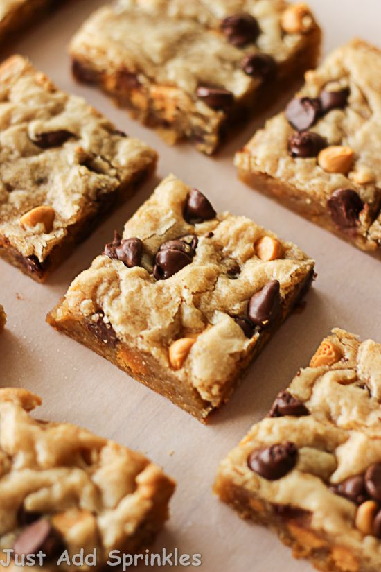 Chocolate Chip Butterscotch Blondies | Just Add Sprinkles