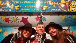 Prins Okkie d'n eurste met Hofdames Ronny en Elise Carnaval Zwaag 2016 - 2017