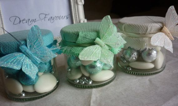 Pretty Butterfly Wedding Favour Jars Blue Aqua by dreamfavours, £3.69