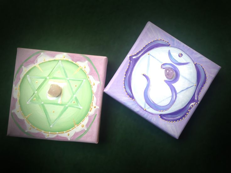 4th and 6th Chakras with rose quartz and amethyst  20x20 - Available to order