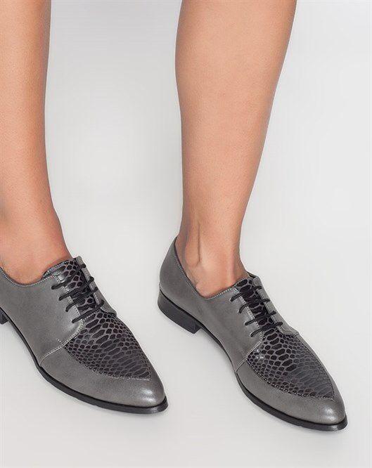Deri Gri Günlük Ayakkabı www.fashionturca.com