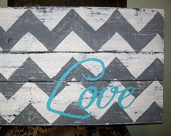 chevron wooden pallet love | Pallet wood chevron love sign rustic and distressed in white, gray and ...