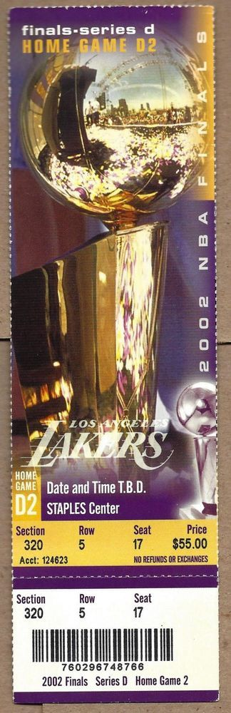 La Lakers 2002 #NBA Finals Game 2 Ticket - Kobe Bryant! from $75.0