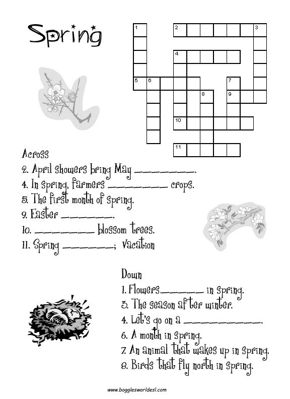 Spring Crossword Puzzle Worksheet Ot Crossword Spring