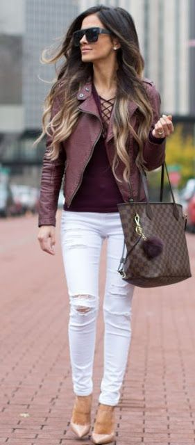 I like when ripped denim only has actual open holes on the knee! Cute outfit, like the color of this leather.