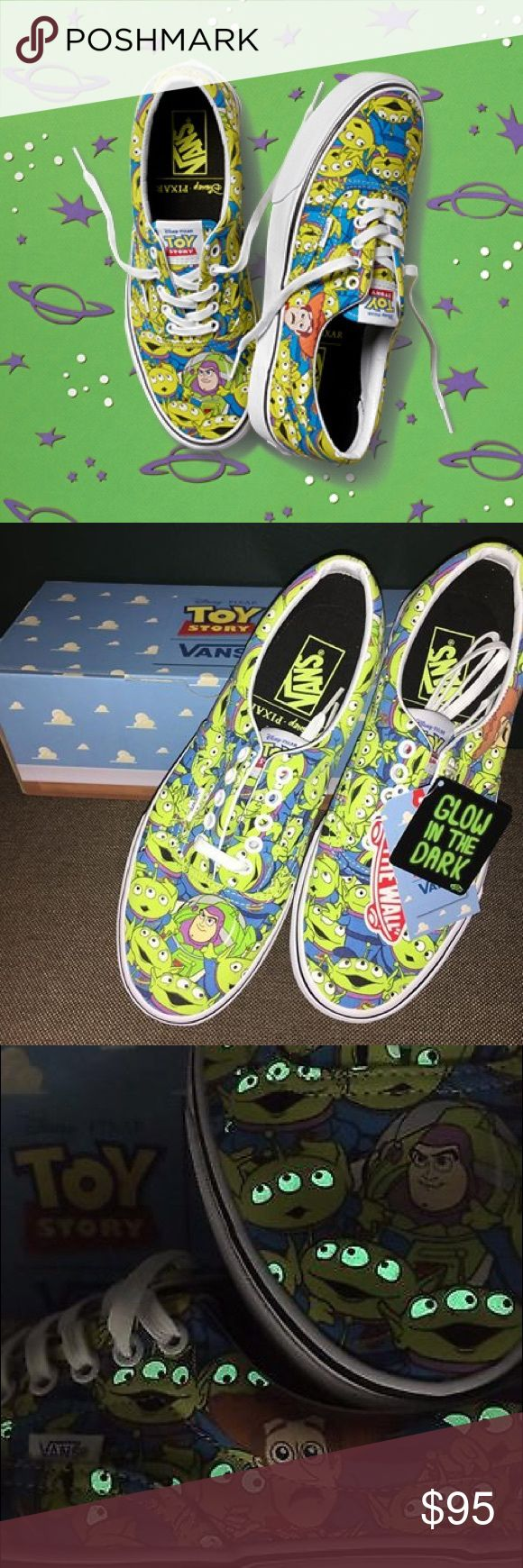 2016 Toy Story Vans Disney Brand new in box 2016 Limited Edition Vans X Toy Story ERA Aliens.  Aliens glow in the dark! Women's size 10 or Men's size 8.5 This collection is sold out and very rare. They are currently selling on eBay for $200 Vans Shoes Sneakers