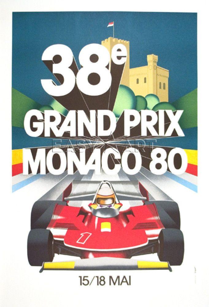 pinterest.com/fra411 #vintage #race #poster -  Monaco Grand Prix, 1980. Gift for sports fan