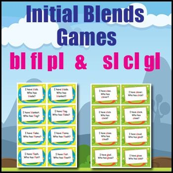 Phonics Games - Initial Blends Card Game - I Have Who Has? - bl.fl,cl,pl,gl & sl - This initial blend card game covers the beginning blends bl.fl,cl,pl,gl & sl.Aim: - To practice words with the initial blends of bl, fl and pl in an enjoyable way.- To practice listening skills.What You Need:1 set of 'I Have...