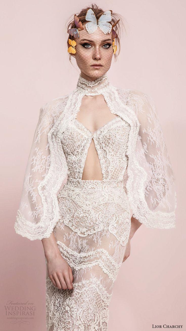 lior charchy spring 2017 bridal angel sleeves high neck sweetheart neck full embellishment elegant sexy sheath wedding dress (7) zv -- Lior Charchy Spring 2017 Wedding Dresses