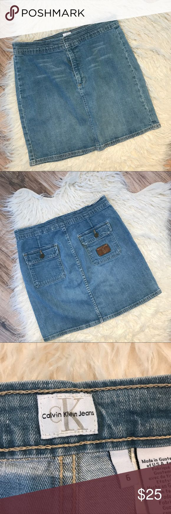 """Vintage Calvin Klein jean mini skirt Good condition, no rips stains or pilling, 98% cotton, 2% Lycra, 15"""" waist laying flat, 16"""" long, color- blue, no trading or modeling. Calvin Klein Skirts Mini"""