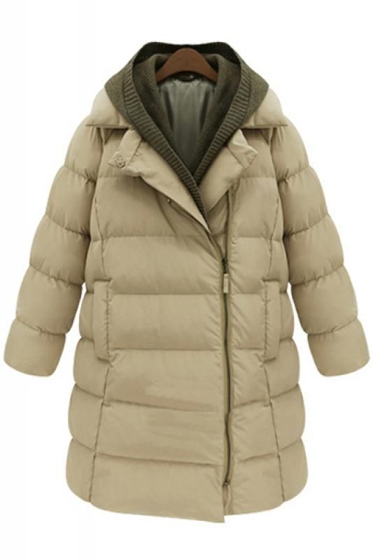 Love the Layers! Cozy Hooded Long Sleeve Cotton-Padded Winter Coat #Cozy#Khaki #Olive #Beige #Fall #Winter #Coat #Fashion