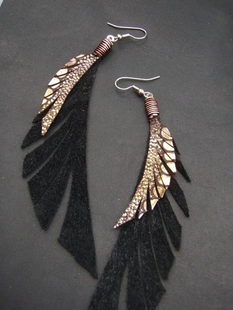 Leather Feather Earrings - Sparkly Gold, Bronze and Black Dangly Earrings