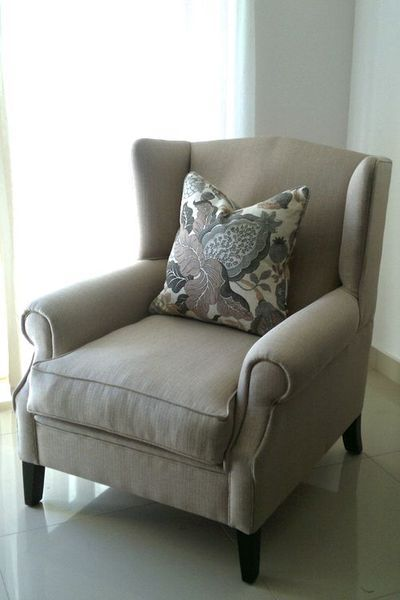Fabric wingback arm chair