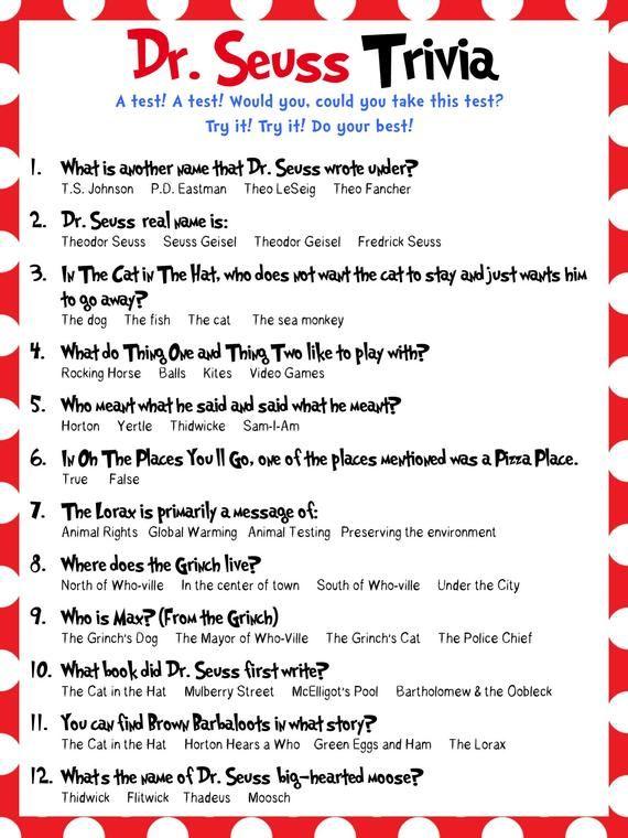 Dr. Seuss Trivia - Baby Shower, Bridal Shower, Classrooms ...