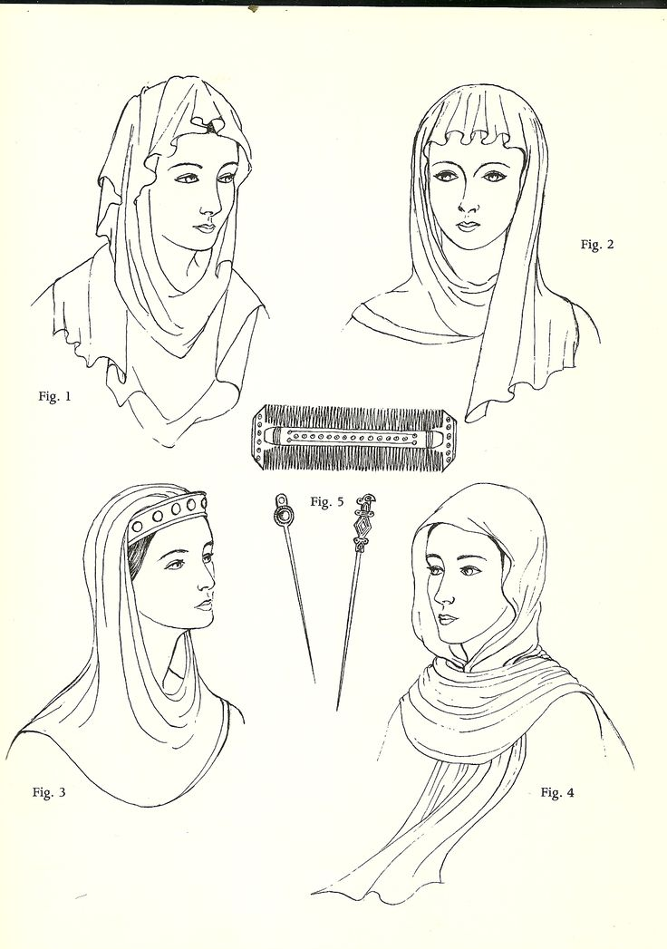 "Anglo-Saxon (600 – 1154): Simple Veils, Head-tires, Combs, and Pin. ""During this time the head was always covered with no hair showing, although it was usually braided elaborately underneath the veil..."""