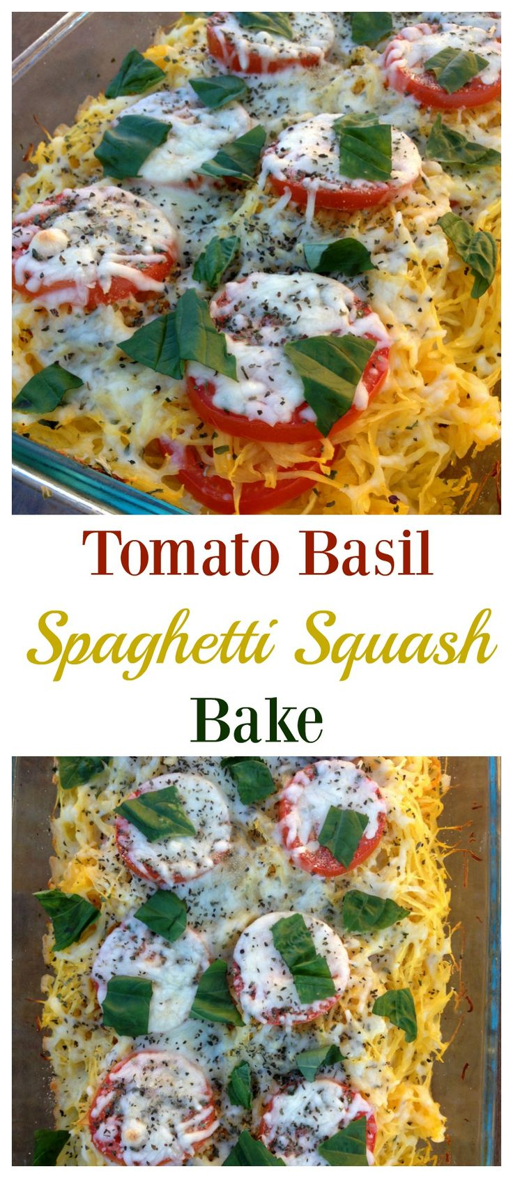 This Tomato Basil Spaghetti Squash Bake is one of our favorite meals! It's easy, healthy and delicious!