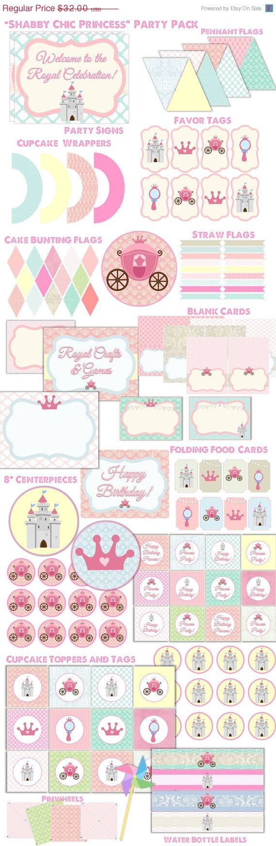 Princess Party, 140 Items, Large Party Pack, Instant Download,  Shabby Chic Princess, Cinderella Birthday Day Supplies and Decor on Etsy, $12.80