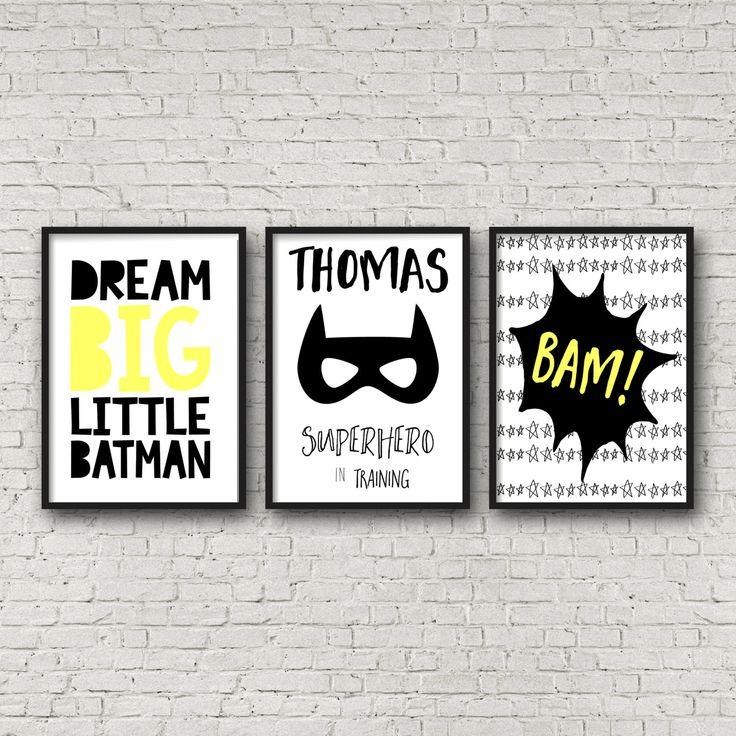 Nursery or Bedroom Prints, Kids Wall Art Decor, Personalised Name Print, Batman, Dream Big Prints, Superhero Prints, Set of 3- A4 A3 by TheKidsPrintStore on Etsy