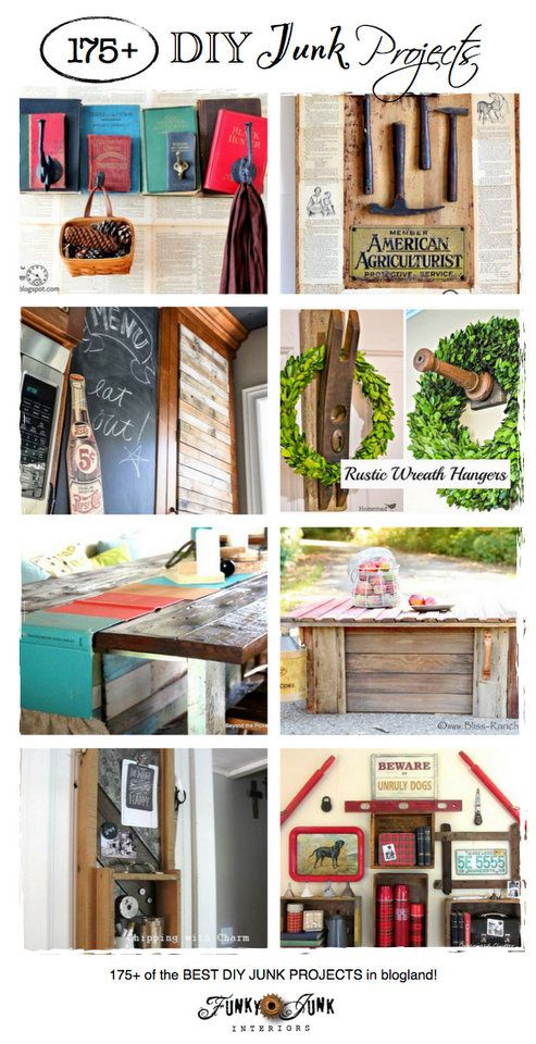 175+ DIY Junk Projects - some of the best junk in blogland! Come link up or just be inspired! via KnickofTimeInteriors.blogspot.com