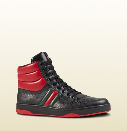 Gucci - contrast padded leather high-top sneaker 368494DEF301074
