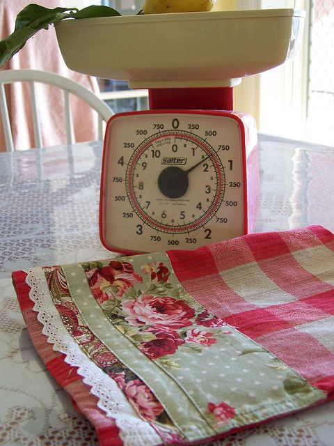 Decorative Tea Towel   Funky Red Retro Roses  Lace Edge. By Created By Cath