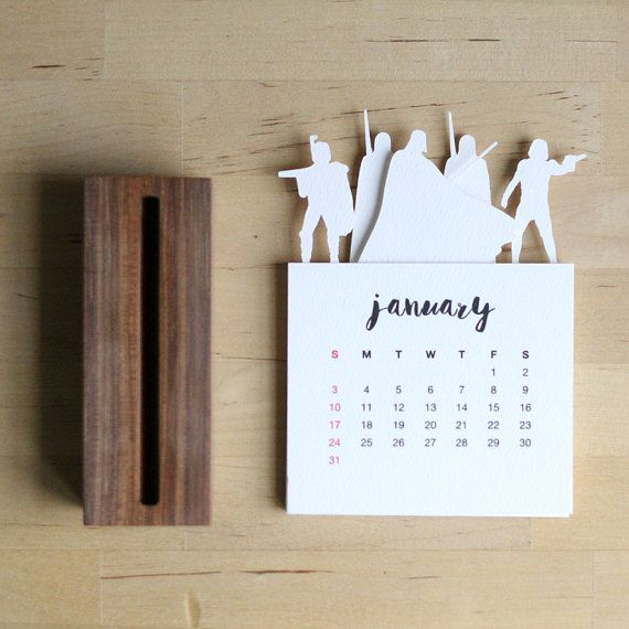 2016 Minimalist Paper Cut Desk Calendar with Solid от PurnaProject