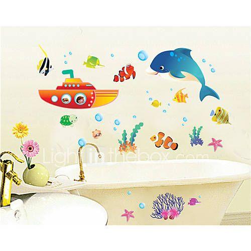 Wall Stickers Veggoverførings, tegnefilm Underwater World pvc vegg klistremerker 3137532 2017 – $4.99