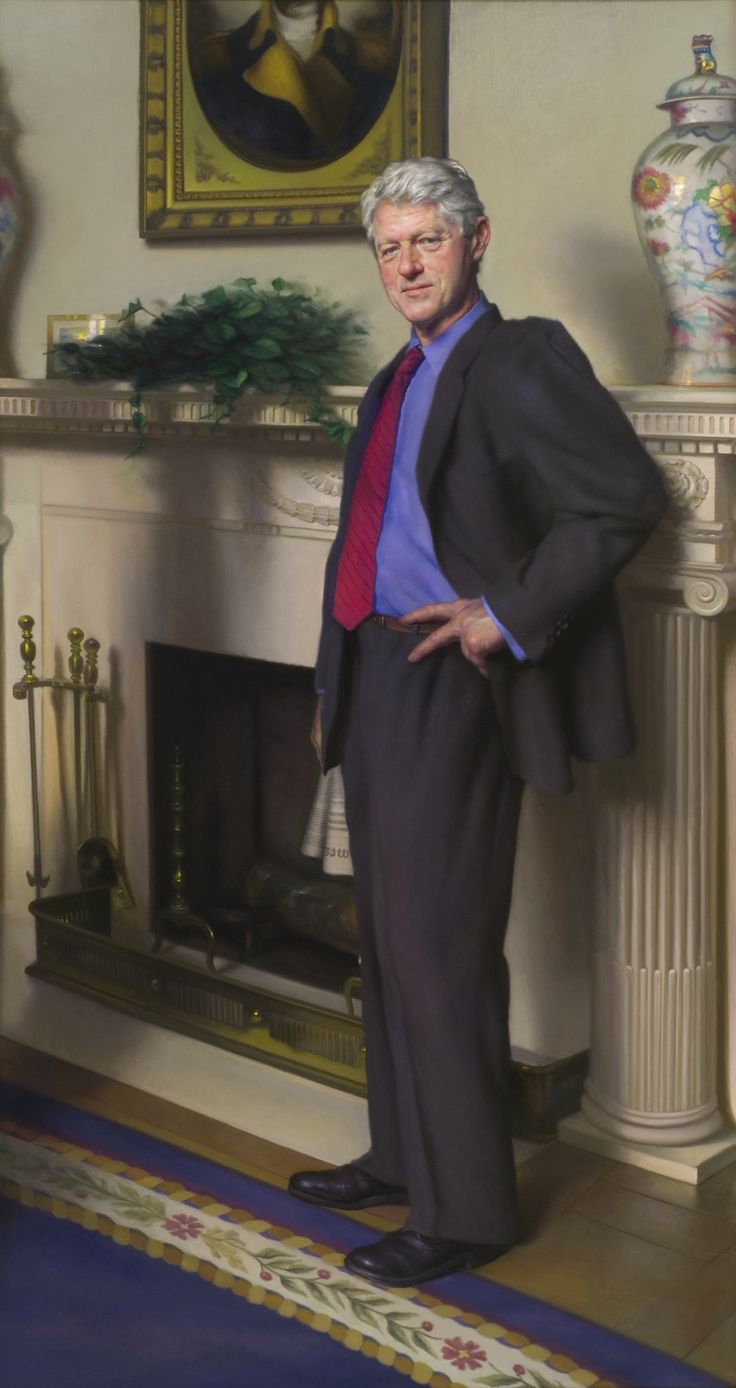 Bill Clinton's official portrait includes shadow of Monica Lewinsky's infamous blue dress, artist says - Yahoo News