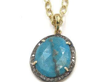 Corto collar turquesa, collar de oro, joyas con diamantes Pave, collar de diamantes Pave, cadena de oro, colgante de diamantes turquesa
