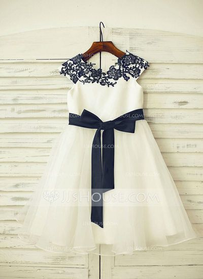 [US$ 71.69] A-Line/Princess Knee-length Flower Girl Dress - Organza/Satin Sleeveless Scoop Neck With Sash/Appliques