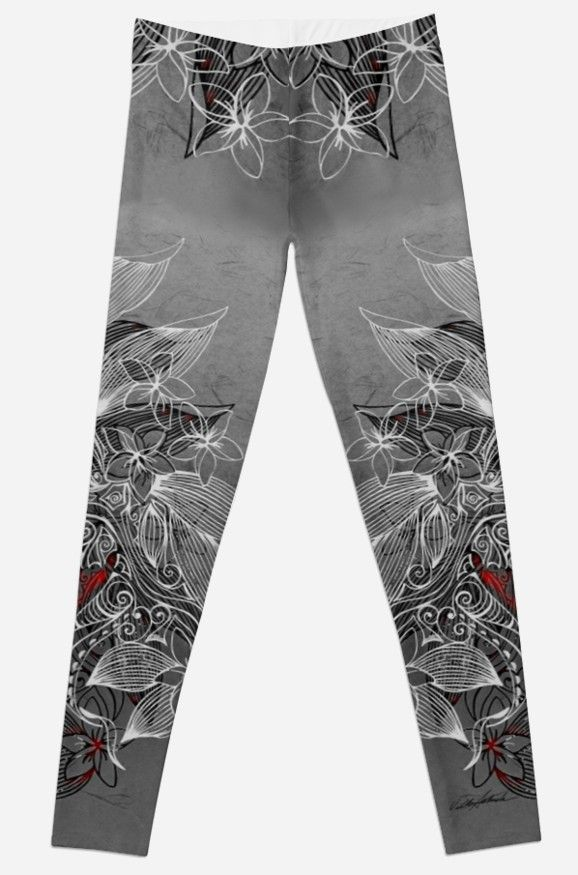 Earth Dance Leggings by Polka Dot Studio, hand painted #art of #tropical #tribal #island #floral #tattoo inspiration, on #fashion #apparel for her. Comfortable, perfect for #leisurewear to #activewear to #travel and styling for social events as well. Coordinating tops and #accessories available.