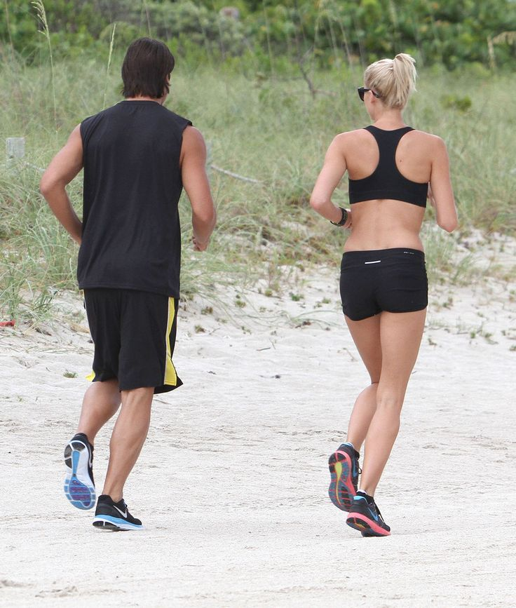 Lena Gercke Sami Khedira Photos: Sami Khedira And Lena Gercke Out For A Jog On The Beach