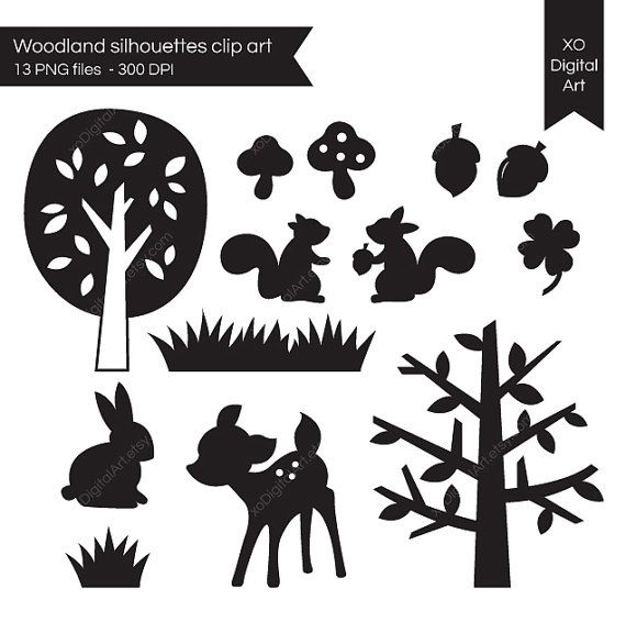 digital woodland silhouettes...deer, squirrel, rabbit, acorns, mushroom