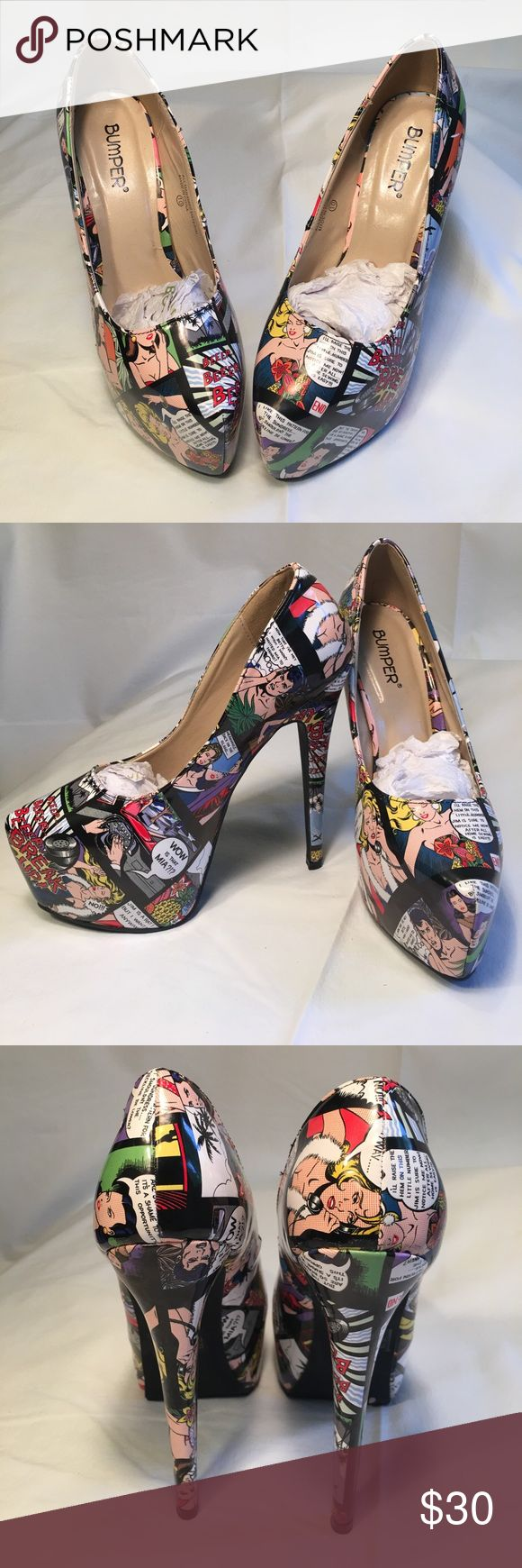 Bumper Popart Comicbook heels Let your feet do the talking in these Bumper Pop Art Comic book heels!  With a colorful comic strip printed upper, these colorful pumps make a real statement. A slender 6.25-inch stiletto heel gives you a lift, coupled with a concealed 2.25-inch platform to support. Material: Faux leather Toe shape: Almond Heel height/type: 6.25-inch stiletto Platform height: 2.25 inches Width: Medium Bumper Shoes Heels