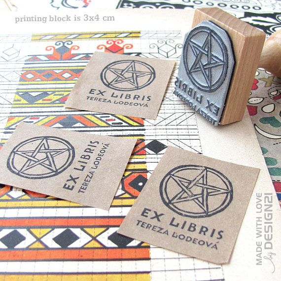 Pentacle: personalised rubber stamp 3x4 cm by lida21 on Etsy