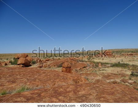 The dry red landscape of the Australian outback in the Northern Territory Australia