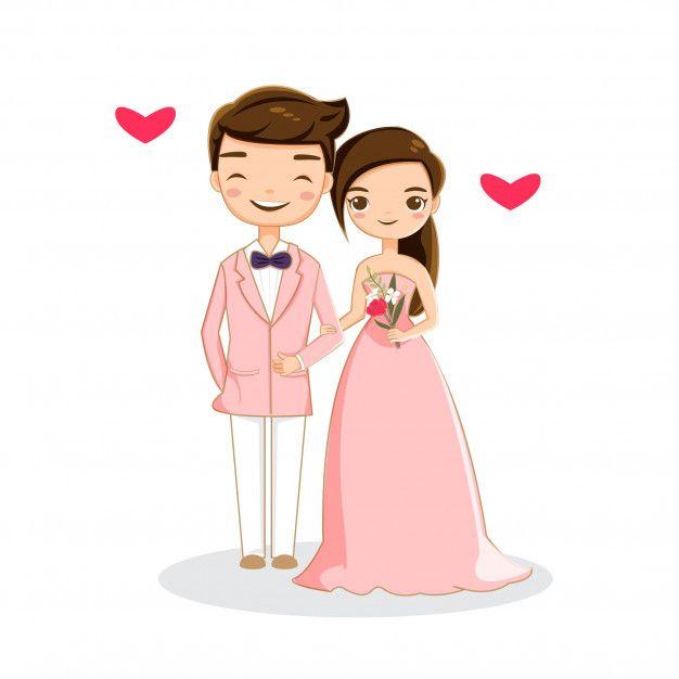 Sweet Romantic Couple Wedding Couple Cartoon Wedding Caricature Wedding Illustration