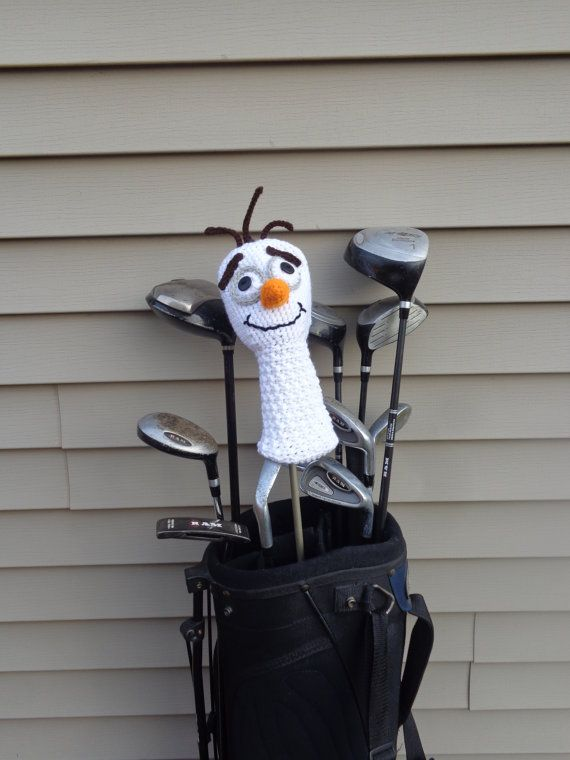 Olaf Inspired Golf Club Cover! The perfect accessory for a fun golf game! Perfect gift for Father's Day, Bday, etc! Crochet golf club cover.