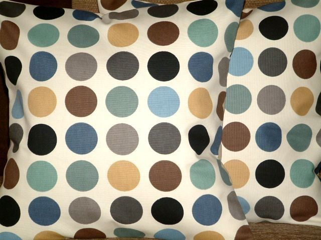 2 New 18 inchTeal,Duck Egg Blue,Brown,Grey,Black,Cream Spots Print Designer Retro,Pillow Covers,Throw Pillow,NEW FABRIC by MARIESCOSYCUSHIONS on Etsy https://www.etsy.com/listing/77532841/2-new-18-inchtealduck-egg
